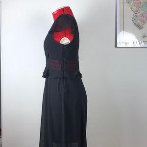 Express Dresses - Express Black Chiffon Ladder Lace Maxi Dress